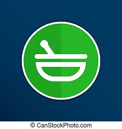 Mortar and pestle with blue tablets icon