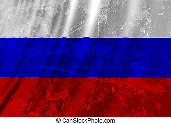 Russian flag waving in the wind with some folds