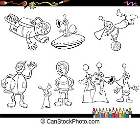aliens cartoon coloring page - Coloring Book Cartoon...