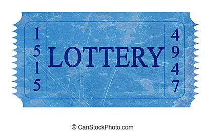 lottery - blue lottery ticket on a white background