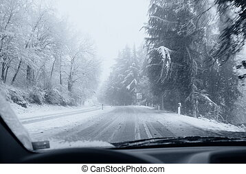 dangerous road with snow and ice