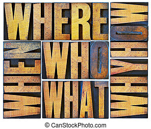 questions word abstract in wood type - who, what, how, why,...