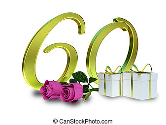 birthday concept with pink roses and gifts - sixtieth...