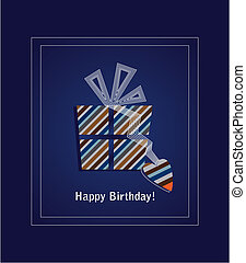 Blue happy birthday card 2 - Blue happy birthday card with...
