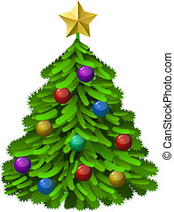 Decorated Christmas tree - Green decorated Christmas tree...
