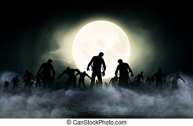 Zombie World - halloween festival illustration and...