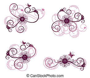 Floral design element 2 - Beautiful purple and pink floral...