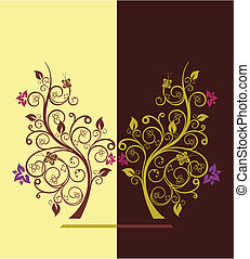 Flowering trees design vector illustration 4 - Beautiful...