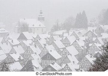 Niemiec, miasto,  freudenberg, Zima