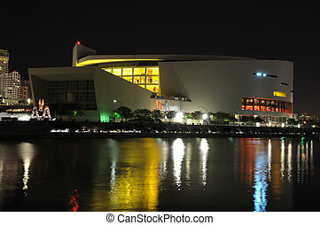American Airlines Arena at night. Miami, Florida USA