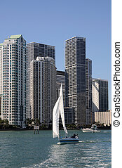 Downtown Miami and Sailing Yacht, Florida