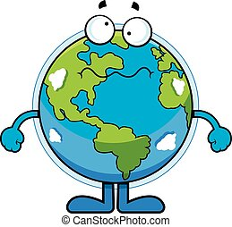 Cartoon Earth Dizzy - Cartoon illustration of the Earth with...