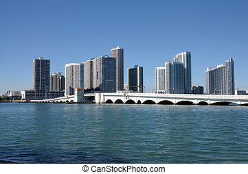Downtown Miami with the Biscayne Bridge in foreground,...