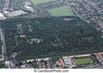 View of Magdeburg Westfriedhof - View of the German city...