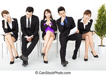 bored business people waiting for interview