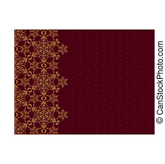 Golden snowflake border on burgundy background