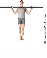 workout - wide grip pull ups - exercise illustration - wide...