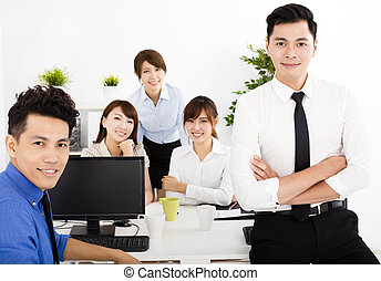 happy business people working in the office