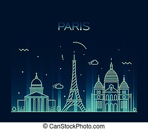 Paris City skyline Trendy vector line art