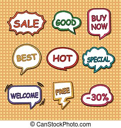 shopping tags set collection