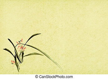 Chinese traditional ink painting of orchid on grung old...