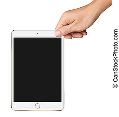 Hands are holding Small White and Gold Tablet Computer on white background