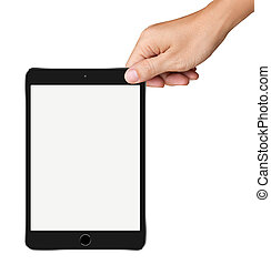Hands are holding Small Black Tablet Computer on white background