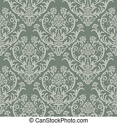 Green floral wallpaper - Seamless green floral damask...