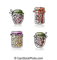 Jar with jam, sketch for your design