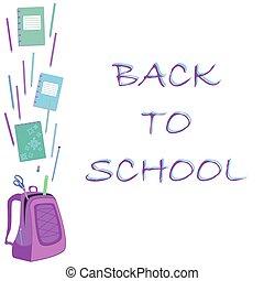 schoolbag with notebook, eraser, pencils, ruler, scissors -...