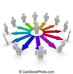 接続, ネットワーク, 人々