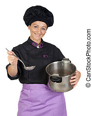 Pretty cook woman with big pot isolated on white background