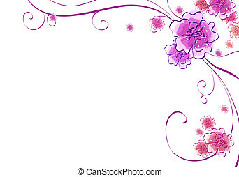 sakura and vines - drawing of flower pattern in a white...
