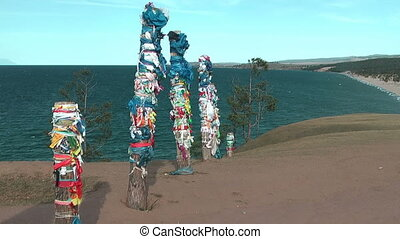 Shaman pillars - Olkhon island on Baikal lake