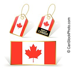 Canadian flag and tags - Canadian flag and sale tags on...