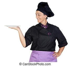 cozinheiro, mulher, pretas, bonito, uniforme