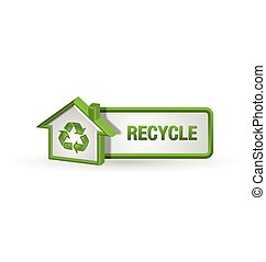 Recycle button with house icon on white background