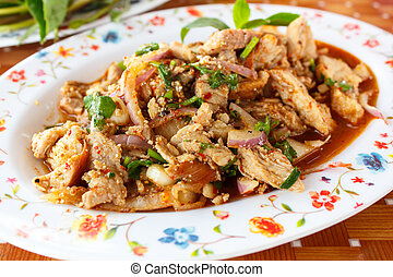 Spicy pork salad, Thai food. - Thai cuisine spicy pork...