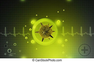 Herpes virus - Digital illustration of herpes virus in...