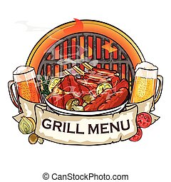 BBQ Grill label design with ribbon banner and sample text.