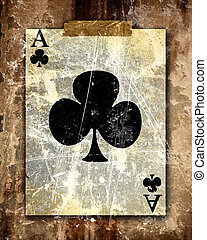 playing card atached to a paper like background
