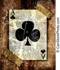 playing card attached to a paper like background