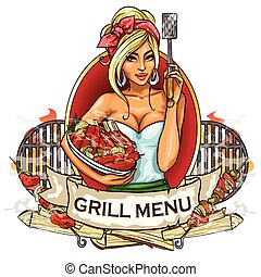 BBQ Grill Party label design with ribbon banner and sample...