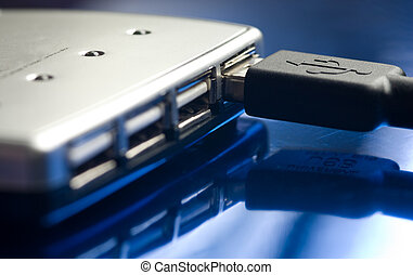 Usb hub - USB hub with minimum depth of field isolated on a...