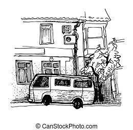 ink sketch van parking near the house - ink sketch van...