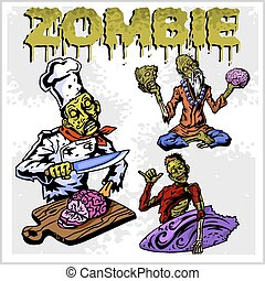 Cartoon zombie - vector set - Cartoon zombie Set of color...