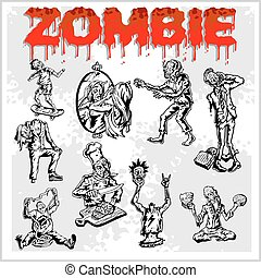 Cartoon zombie - vector set. - Cartoon zombie. Set of color...