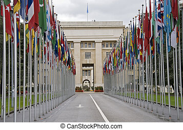 United Nations offices in Geneva with county flags
