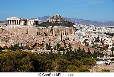 Athens and Acropolis Hill - Athens cityscape and Acropolis...
