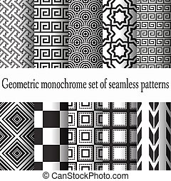 set of monochrome seamless